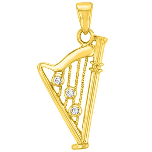 (Solid 14K Yellow Gold CZ Harp Charm Musical Instrument Pendant )