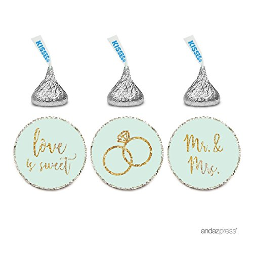 Andaz Press Mint Green Gold Glitter Print Wedding Collection, Chocolate Drop Label Stickers Trio, 216-Pack, Fits Hershey's Kisses Party Favors