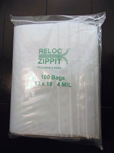 100 Heavy Duty 13x18 Clear Reclosable Bags 4Mil 13