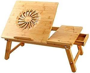 Single Fan Laptop Desk Nnewvante Adjustable Table Bamboo with USB Fan Foldable Serving Work-on-home programmer office worker
