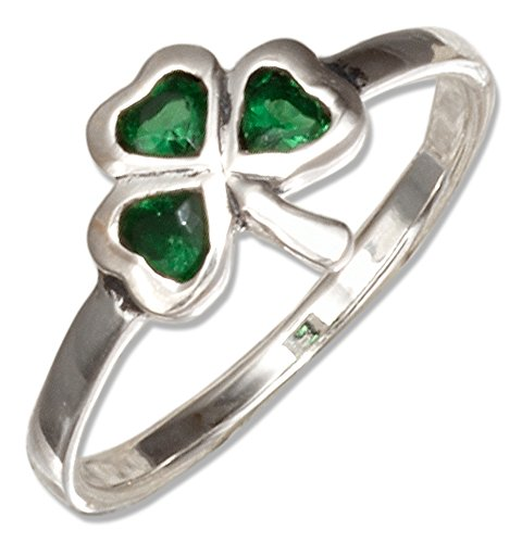- Sterling Silver Green Glass Shamrock Ring (size 09)