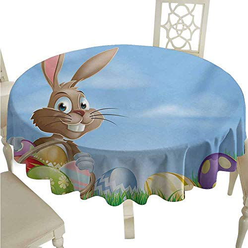 (duommhome Easter Waterproof Tablecloth Painted Easter Eggs with Dots Chevron Zigzags and Stripes in a Basket Cartoon Bunny Easy Care D43 Multicolor)