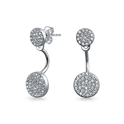 Minimalist Geometric Cubic Zirconia Double Round Disc Pave CZ Back Front Ear Jacket Drop Earrings 925 Sterling Silver