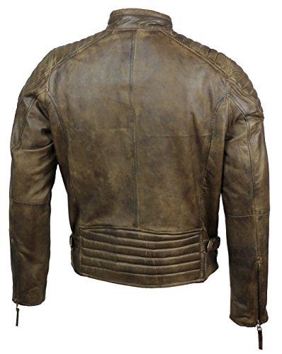 Herren Lederjacke, echtes weiches Leder, schlankes Design, Antik-Look, ausgewaschene Optik, Retro-Stil, Biker-Jacke, Braun