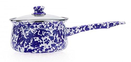 Golden Rabbit Enamelware 1.25 Quart Sauce Pan Cobalt Blue Swirl