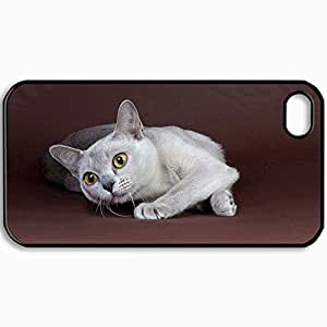 Customized Cellphone Case Back Cover For iPhone 4 4S, Protective Hardshell Case Personalized Cat Black