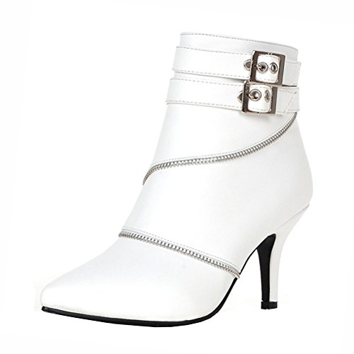 Womens Zip High Winter Buckle Stiletto Heels Shoes Boots Agodor Closed Toe White Elegant With Ankle dq4Rd