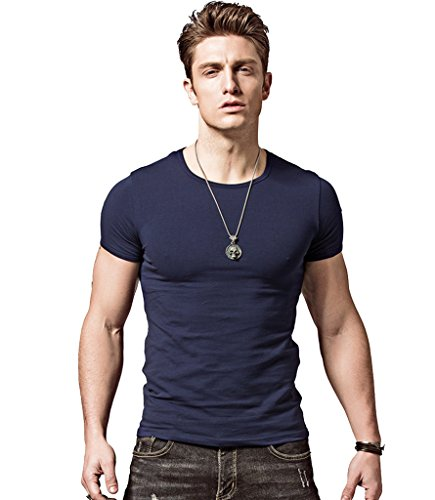 Xshing mens slim fit t shirts soft short sleeves athletic for Best athletic dress shirts