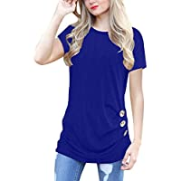 IVVIC O-Neck Casual Loose Button Down Short Sleeve Shirts Tunics Tunic Tops for Leggings for Women
