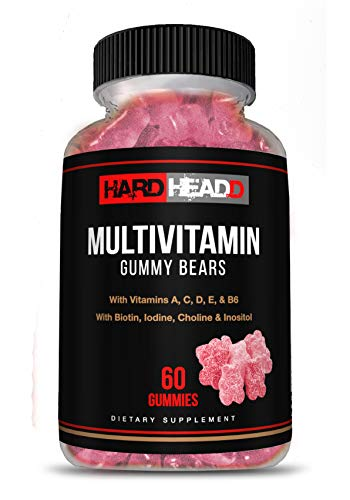 HARD HEADD Multivitamin Gummy Bears with Vitamins A,C, D, E & B6 with Biotin, Iodine, Choline & Inositol 60 Gummies Made in USA