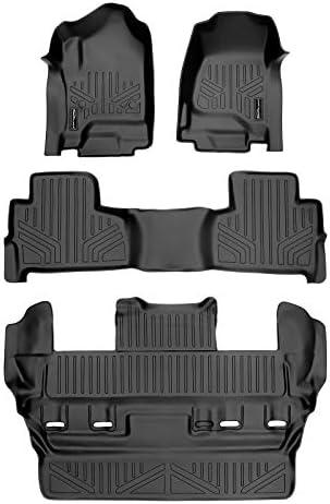 SMARTLINER Custom Fit Floor Mats 3 Row Liner Set Black for 2015-2020 Chevrolet Tahoe / GMC Yukon