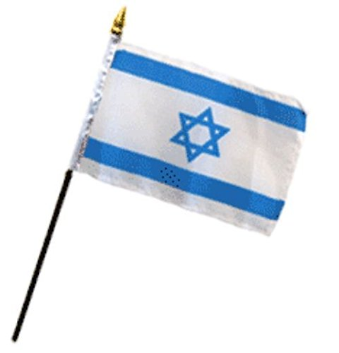 Israel Star Flag 4''x6'' Desk Set Table Stick Black Base PREMIUM Vivid Color and UV Fade BEST Garden Outdor Resistant Canvas Header and polyester material FLAG by AES