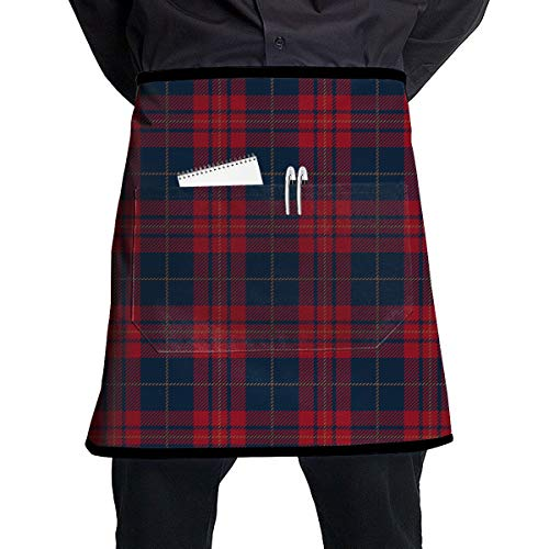 Plaid Half Apron - SBDP75wq 2 Pockets Waist Apron,Blue and Red Tartan Plaid Pattern Professional Kitchen Half Short Apron for Men Women,Cooking, Grill and Baking,Durable Easy Care