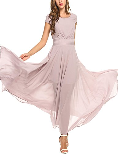 (Zeagoo Women's Casual Cap Sleeve Ruched Chiffon Bridesmaid Maxi Dress Blush Pink)