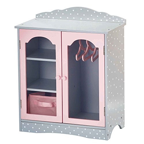 Olivia's Little World - Princess 18 inch Doll Furniture | Fancy Wooden Closet with 3 Hangers and 1 Cubby (Grey Polka Dots) | Fits American Girls, Our Generation and More -