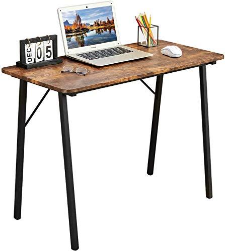 Coavas Bureau d'écriture simple pour enfant avec pieds en métal pour enfant, style industriel, en bois, pieds en métal