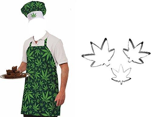 Pot Leaf Weed Marijuana Hat Apron Food Brownie Cookie Cutters 420 Chef Costume - Jane Leaf Mary Pot