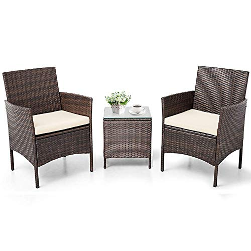 Patiomore 3 Pieces Outdoor Bistro Set Cushioned Furniture Set PE Wicker Patio Chairs with Coffee Table (Brown)