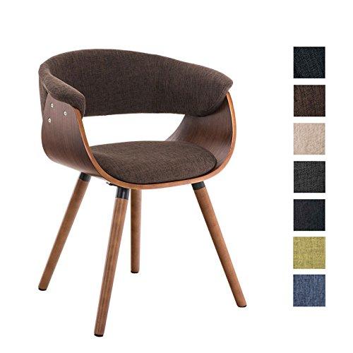 CLP Besucherstuhl PIRMA Stoff mit Holzgestell walnuss, Materialmix aus Stoff und Holz, bis zu 7 Farben wählbar braun