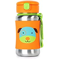 Skip Hop Zoo Stainless Steel Straw Bottle, Dog