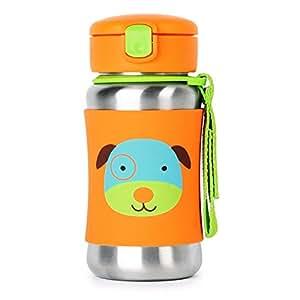 Skip Hop Zoo Stainless Steel Straw Bottle, Dog