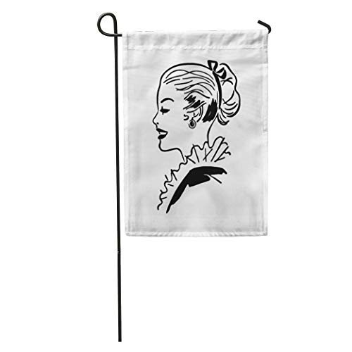 Semtomn Garden Flag 1940S Ponytail Gal Retro 1950S 40S 50S Americana Beautiful Beauty Home Yard House Decor Barnner Outdoor Stand 28x40 Inches Flag]()