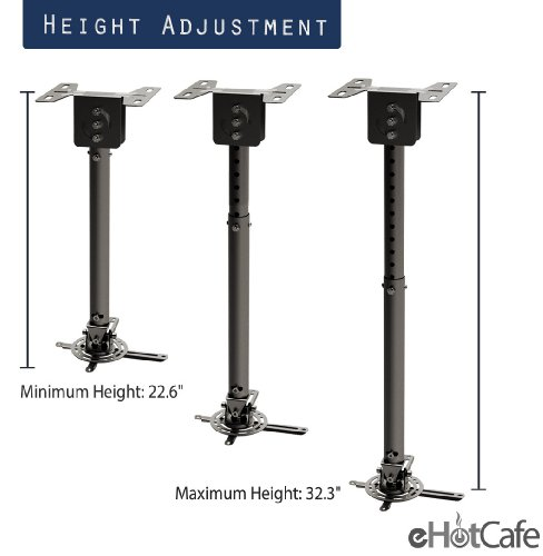 eHotCafe PRB-10-BLK Premium Quality Projector Ceiling Mount, Black by eHotCafe (Image #4)