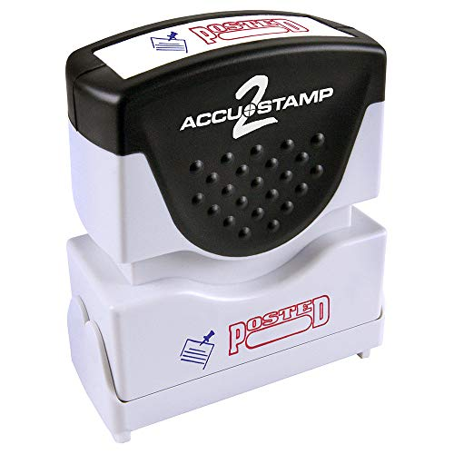 "ACCU-STAMP2 Message Stamp with Shutter, 2-Color, POSTED, 1-5/8"" x 1/2"" Impression, Pre-Ink, Red and Blue Ink (035521)"