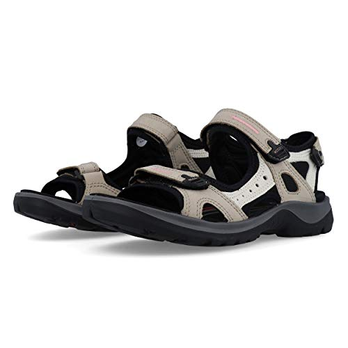 ECCO Women's Yucatan outdoor offroad hiking sandal, Atmosphere/Ice White/Black, 8 M US