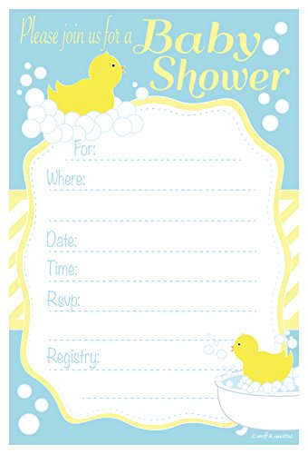 Duck Baby Shower Invitations - Fill In Style (20 Count) With Envelopes
