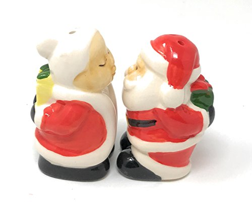 Christmas Santa Salt and Pepper Shakers, 2-Piece Set - 2 3/4 High (Mr. and Mrs Claus) ()