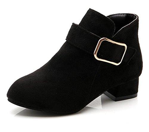 Bumud Girl's Faux Suede Low Heel Side Zipper Ankle Boots (Toddler/Little Kid) (13 M US Little Kid, Black) ()