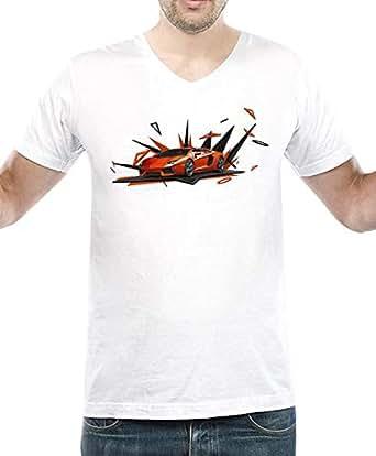 IngraveIT White Cotton V Neck T-Shirt For Men