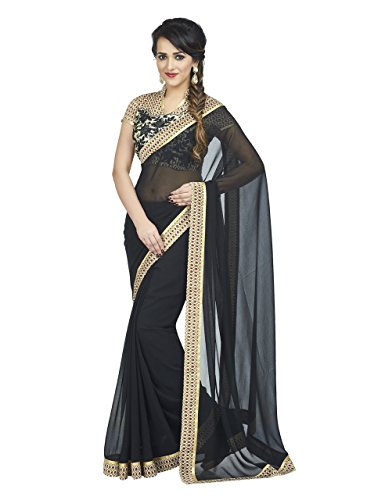 6719234240 Palav Women's Chiffon Saree Printed Raw Silk Blouse Jet Black Free Size -  Buy Online in Oman. | palav Products in Oman - See Prices, Reviews and Free  ...