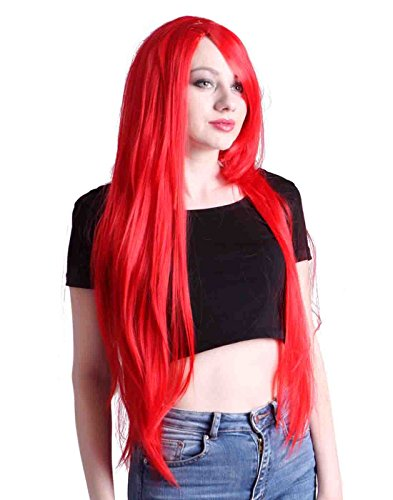 HDE Women's Wig Long Straight Hair Wig (32 Inches Total Length) with Included Wig Cap Synthetic Halloween Cosplay LARP Costume Accessory (Bright Red)