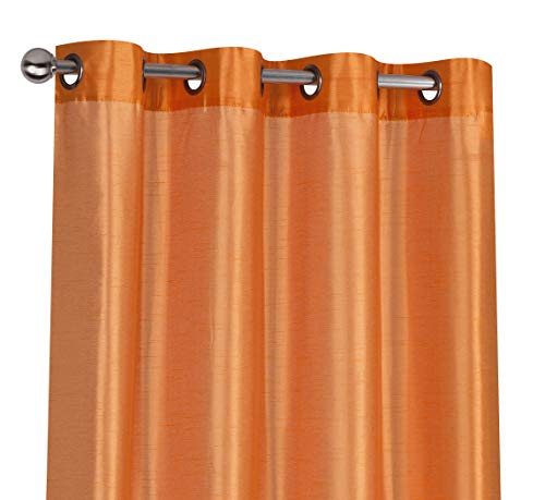 Orange Sheer - Regal Home Collections 2 Pack Semi Sheer Faux Silk Grommet Curtains - Assorted Colors (Orange)