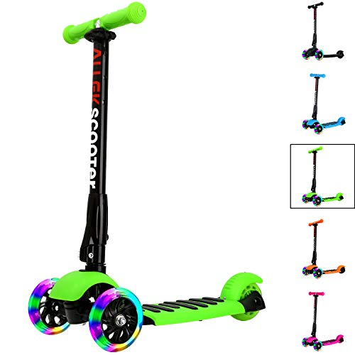 Allek Kick Scooter, 3 Wheel Adjustable Height PU Flashing 3 Wheels Scooter for Kids with Patented Folding System Best Gifts for Children from 3 to 17 Year-Old (Kids Three Wheeled Scooter)