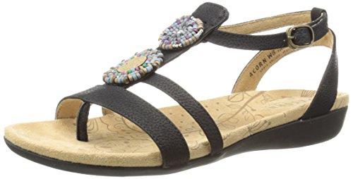 ACORN Women's Samoset T-Strap Sandal,Black Shell,7 M US