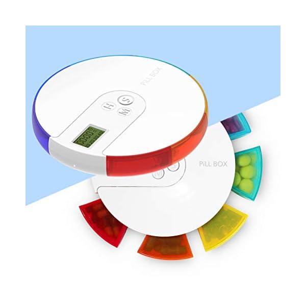 NICEXMAS - Pastillero digital portátil con indicador de fecha de alarma, pastillero inteligente con recordatorio 14
