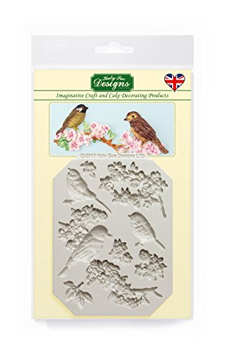 Katy Sue Designs Blossoms & Birds Silicone Mold for Cake Decorating, Cupcakes, Sugarcraft, Candies, Clay, Crafts and Card Making, Food Safe (Food Safe Clay Molds)