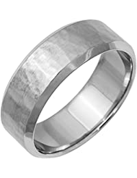 18k white gold top flat mens comfort fit wedding band 8mm - Amazon Wedding Rings
