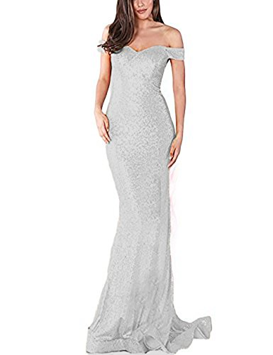 YSMei Women's Long Off Shoulder Sequins Bridesmaid Party Dress Mermaid Formal Silver 10