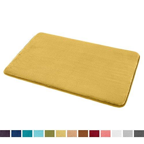 "Clara Clark Bath Mat Bathroom Rug - Absorbent Memory Foam Bath Rugs - Non-Slip, Thick, Cozy Velvet Feel Microfiber Bathrug, Plush Shower, Toilet Floor Bathmats Carpet - Gold - Large Size 20""x32"" (Gold Mats)"
