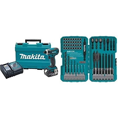 Makita XDT042 18V LXT Lithium-Ion Cordless Impact Driver Kit with 70-Piece Impact Drill-Driver Bit Set