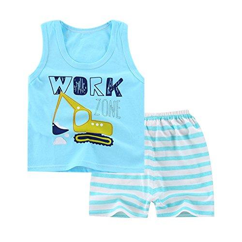 JanLEEsi Baby Vest Shorts Infant Summer Clothing Set,Excavator,15-18 Months