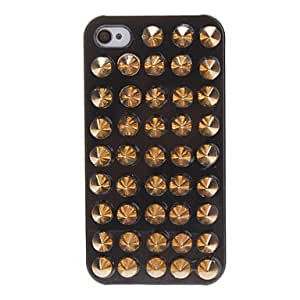 Special Design Golden Spiked Rivets Covered Hard Case with Nail Adhesive for iPhone 4/4S (Assorted Colors) --- COLOR:Black