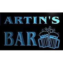 w102712-b ARTIN Name Home Bar Pub Beer Mugs Cheers Neon Light Sign