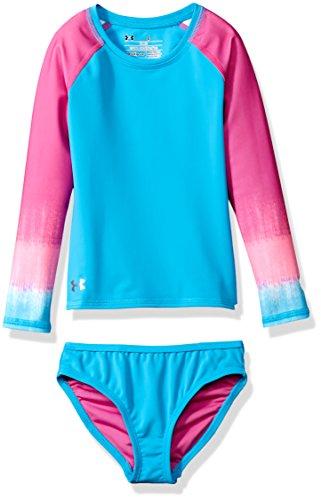 Under armour big girls 39 rashguard set ombre rebel pink for Under armour swim shirt