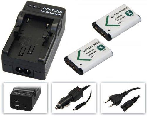 3-in - 1-SET per la Sony Action-Cam HDR AS200/AS200V/AS200VR/AS200VB e AS200VT --- 2 x Batteria (1000 mAh) + 4-in-1 Caricatore (ecc. Con USB/Micro-USB e da auto/auto) pabuTEL-Bundle