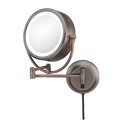 Kimball & Young 92515 Double-Sided Neo Modern LED Lighted Mirror, Plug-In, 1X and 5X Magnification, Italian Bronze by Kimball & Young